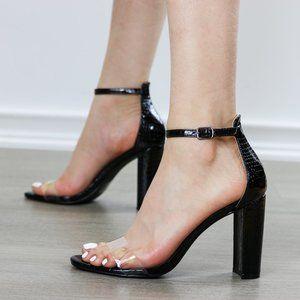 Patent Black & Transparent Strap Block Heel Sandal